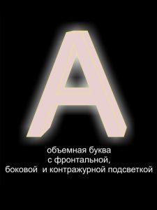 вывеска на заказ, объемные буквы с фронтальной боковой и контражурной подсветкой